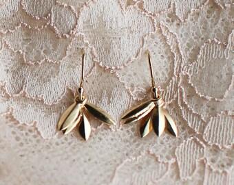 "gold earrings - everyday jewelry - modern dainty layered - ""lily"" earrings, handmade by elephantine"