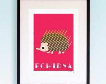 Echidna, Wildlife, Poster, Wall Art, Childrens, Nursery Print, Boys and Girls Room Decor, Animal, Playroom, Native, Fauna, Australia.