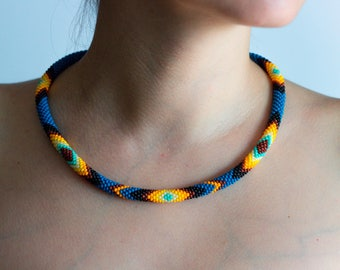 Blue beaded thin necklace, Native choker necklace, Bead crochet rope necklace, Ethnic necklace colorful necklace for women everyday necklace