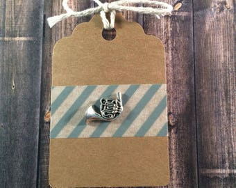 French Horn Lapel Pin / Tie Tack - Silver Tone - Tack Backing with Clutch Clasp