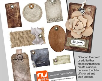 8 Digital Printable Fabric Gift Tags  - 300dpi PNG & PDF Files. Great for art and craft projects.