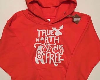 True North Strong Hoodie- toddler sweater, kids shirt, kids clothes, christmas , birthday, hunting, outdoors
