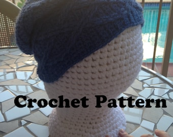 Cabled Slouchy Hat, Crochet Pattern, Slouchy Hat Pattern, Cables Pattern, Cabled Hat Pattern, Crochet Directions, Pound Of Love Pattern Hat