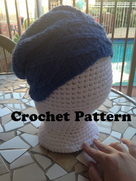 Cabled Slouchy Hat Crochet Pattern Slouchy Hat Pattern Cables