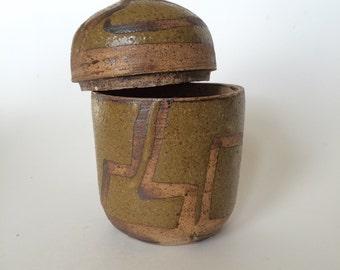 Vintage Stoneware Geometric Decorative Jar K