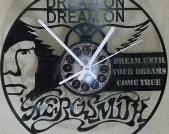 Areosmith 12 inch Vinyl Record Clock rock and roll Gift LP 33rpm fathers day