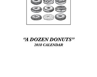 Donut Calendar Digital Download 2018 Doughnut