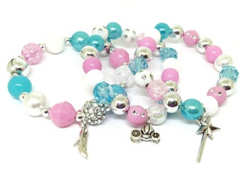 Cinderella bracelets party favors in organza bags with special birthday girl bracelet