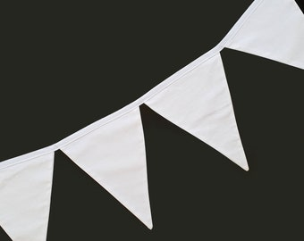 White Wedding Bunting, Wedding Decoration, Boho Wedding Decor, Fabric Bunting Flags Pennant Banner Garland