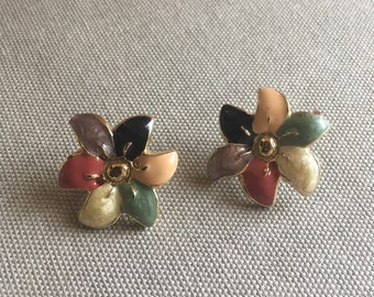 Vintage multicolor enamel flower earrings