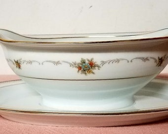 Vintage Noritake China Gravy Boat with Attached Underplate Joanne Pattern