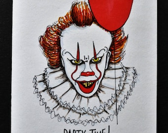Ltd Edition Pennywise the Clown (IT) Greetings Card (A6) Illustrated & signed by artist [EK!]