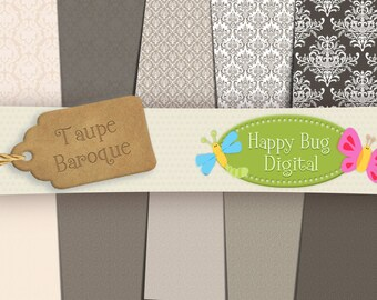 Taupe Baroque Digital Paper Pack 10 Sheets Commercial Use OK - INSTANT DOWNLOAD
