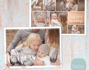 Christmas Card Template - Christmas Photo Card - Photoshop template - AC074 - INSTANT DOWNLOAD