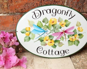 Dragonfly outdoor Wall decor Plaque, House Name plaque, custom House plaque, Address plaque, Garden decor plaque