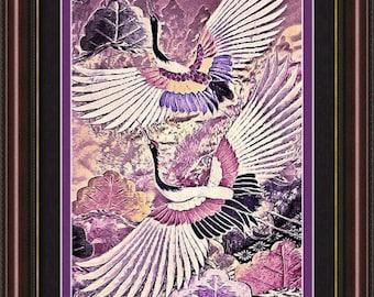 "Framed Japanese Cranes Wall Art; Pink, Mauve & Purple Vintage Kimono Print: Flight of Lovers by Susan Maxwell Schmidt - FREE Ship 19"" x 23"""