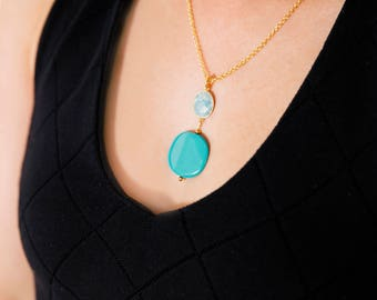 Tiny Round Druzy Pendant Necklace Gold Edged Stone On 14k