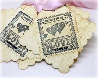 Valentine's Day Tags (Tripled Layered) - Postage Stamp Valentine Gift Tags - Handmade Vintage Style Gift Wrap Party Favor Labels (Set of 8)