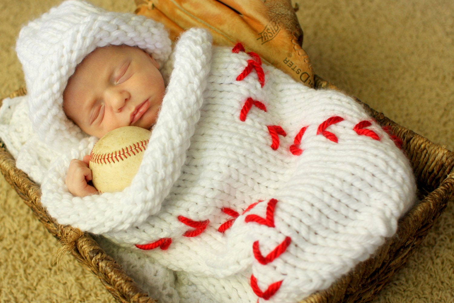 Knit Baseball Cocoon and Hat Pattern