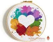 Heart cross stitch pattern Watercolor cross stitch Love embroidery counted cross stitch Colorful heart Baby cross stitch Easy PDF pattern