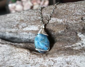 Chrysocolla Necklace - Tumbled Stone Jewelry - Blue Stone Necklace - Boho Fashion - Hippie Jewelry - Boho Gypsy Necklace - Bohemian Jewelry