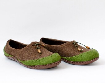 Handmade Felted Slippers |  Moccasins for Mens