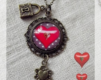 """Necklace cabochon """"Key to my heart"""""""