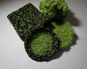 Green and Black Crochet Bath Spa Set - Pouf, Washcloth, Scrubbies