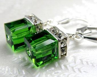Light Emerald Crystal Earrings, Swarovski Cube Earrings, Green Drop Bridesmaid Wedding Earrings, May Birthday, Birthstone, Christmas Green