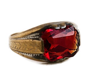 Simulated Ruby Ring - Antique Art Deco Gold Filled Red Stone - 1930s Era Size 6 July Birthstone Jewelry