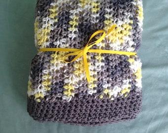 Handmade Crochet Blanket Yellow, Gray, White