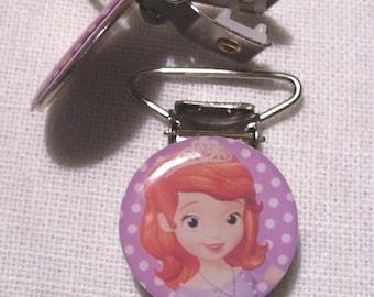 C32 - strap, alligator, pacifier clip-Princess SOFIA purple claw Clip