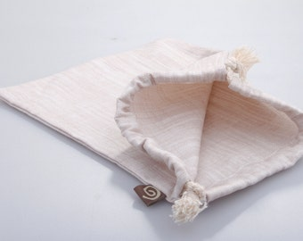Cotton Draw String Pouch, Natural.