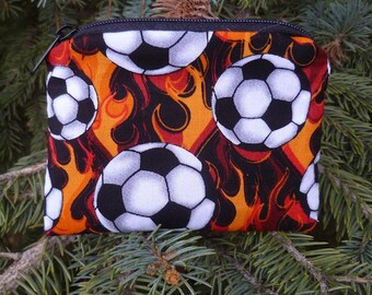 Soccer Coin Purse, credit card pouch, stitch marker pouch, soccer balls and flames, The Raven
