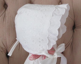 Large Vintage Style Eyelet Baby Bonnet, Christening Bonnet, Baptism Bonnet, Easter Bonnet, Sunbonnet, Baby Bonnet with Ruffle, Baby Hat