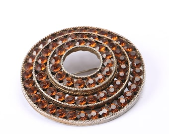 Weiss Vintage 1960s Orange Rhinestone Concentric Circle Brooch