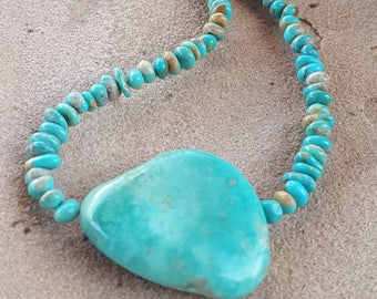 Turquoise Nugget Necklace  -  Blue Green Turquoise - Campitos Turquoise - Choker -  Boho - CowgirlJewelry by Heart of a Cowgirl