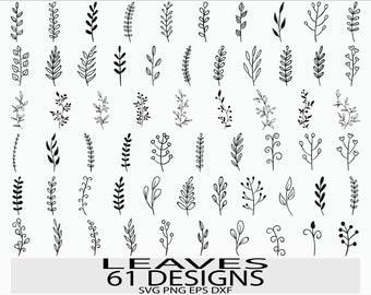 Leaf svg file/ Leaves svg file/ Branches svg file/ Leaves clipart/ Leaf cricut/ Hand drawn leaves/ Leaf silhouette/ Plant/cut file