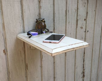 Wall Mounted Nightstand | Wooden Shelf | Wooden Industrial Side Table | Floating Shelf | Rustic Nightstand | Side Table | Bedside Table.