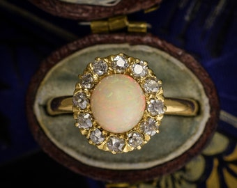 Antique Victorian Opal & Diamond Round Cluster Ring in 15k Gold, c1900