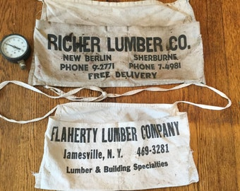 Vintage Apron, Canvas Apron, Work Apron, Lumber Apron, Carpentry Apron, Advertising Apron