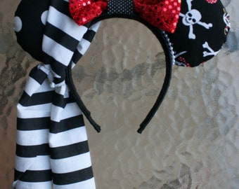 Pirate Minnie Mouse Ears with Red Sequin Bow