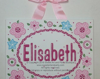 Pink Flowers, Canvas name sign, Personalized art, Aqua, Hot Pink, Flower nursery art, Nursery wall art, Door sign, Custom wall art, art