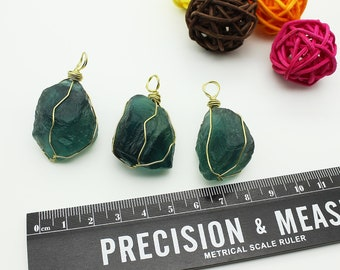 Natural Raw Fluorite Pendants Wire Wrapped for Gaining Clarity & Insight/DIY Jewelry Making /#DZ-S80316P809