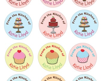 Personalized kitchen cooking labels stickers  -- cakes, cupcakes pie