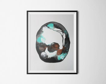 Sale! original abstract watercolor painting in aqua blue, turquoise, copper, black and white. Abstract watercolor. aquarelle abstrait. art