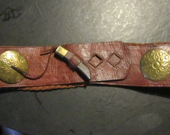 """wide woven leather belt ethnic brass details 2 1/4"""" wide"""