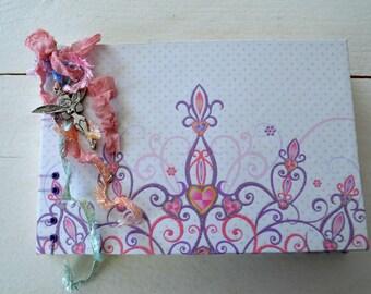 Princess journal, guest book, girl scrapbook album, guestbook, baptism,  diary, open spine album