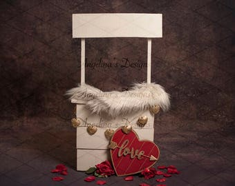 Valentine Kissing Booth Digital Backdrop Valentine's Day Background