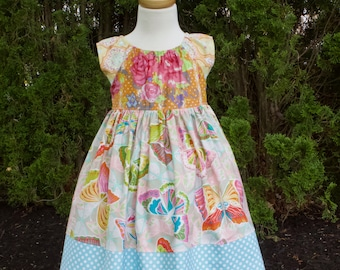 CHELSEA PEASANT Dress, Girls Birthday Dress, Pink Blue Butterfly Floral Dress, Sister Dresses,